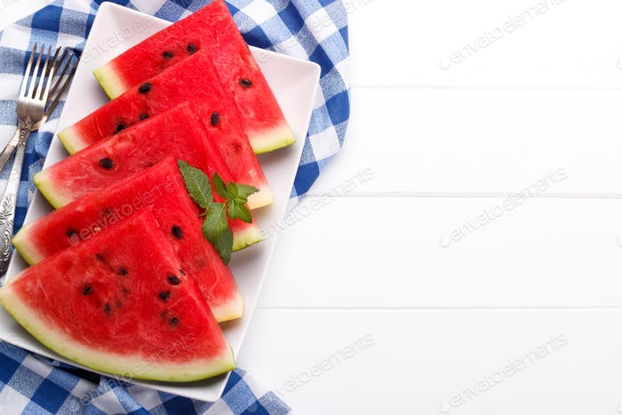 Sliced juicy watermelon