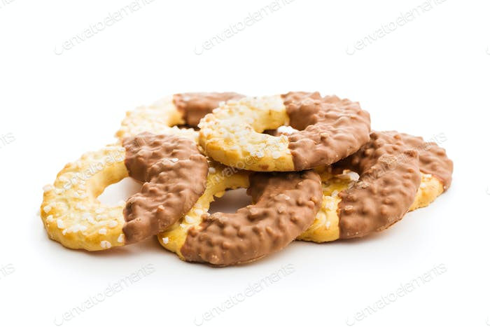 Sweet biscuits rings. Cookies with chocolate.