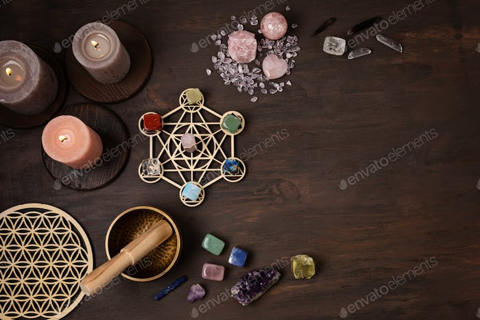 Healing chakra crystal grid therapy. Rituals with gemstones and aromatherapy for wellness, healing