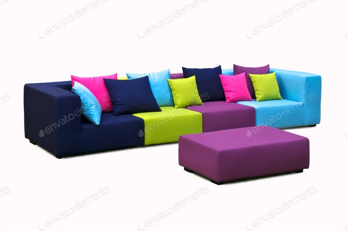 Outdoor indoor sofaIn in rainbow colours with water resistant cushions and pillows