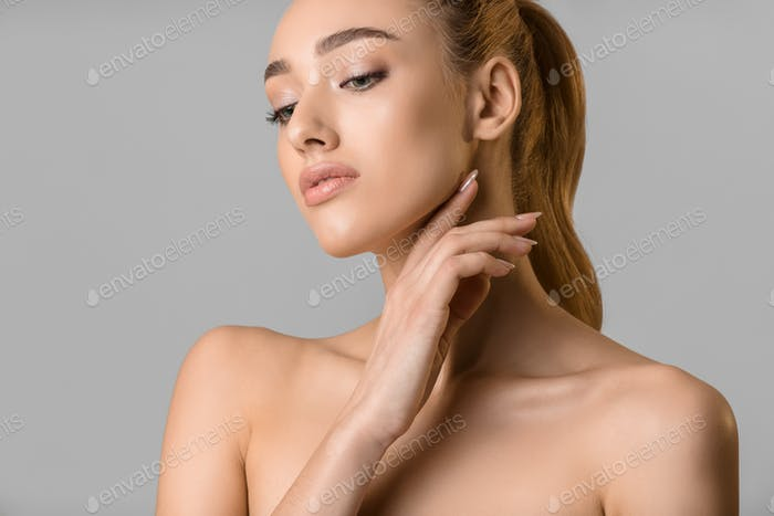 Beauty portrait. Young woman with natural make-up
