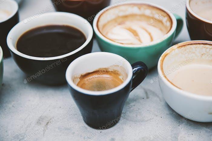 Closeup of various hot coffee
