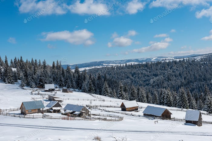 Alpine village in Transylvania, Romania. Snow covered houses in wintertime