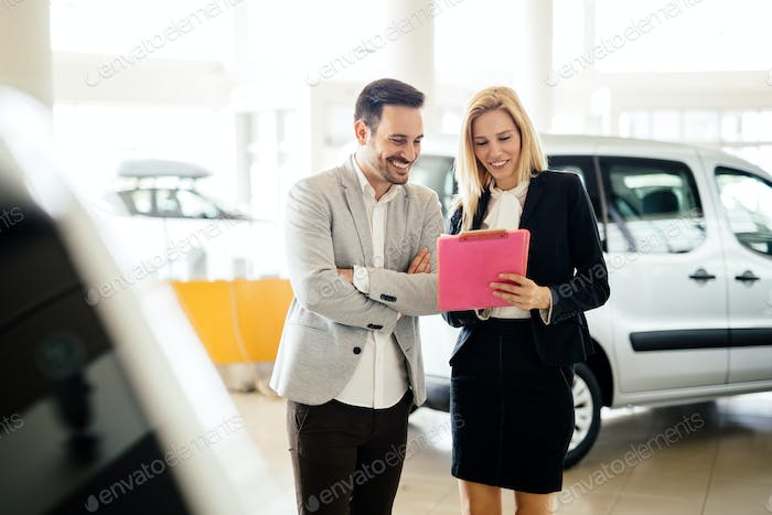Customer looking for a car at dealership