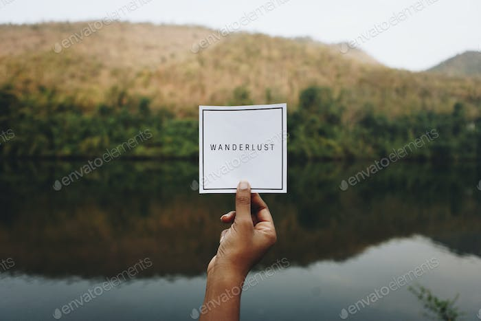 Wanderlust text in nature travel and modern trend concept