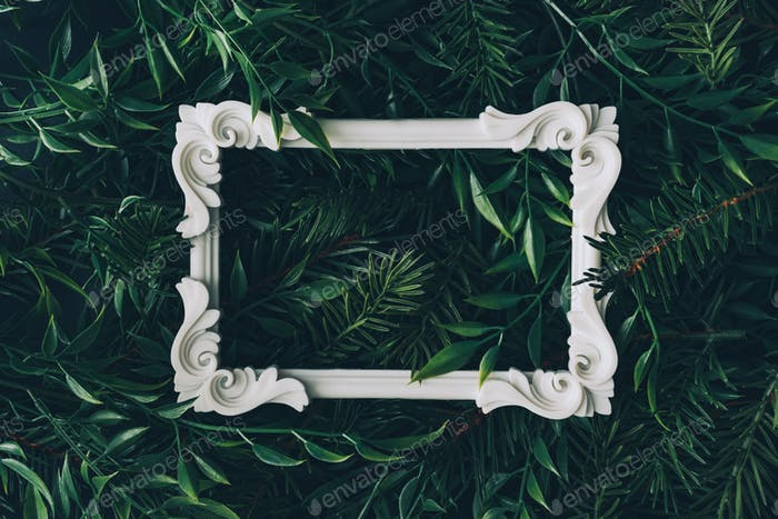 Creative winter layout made of branches and leaves with white decorative frame. Flat lay.