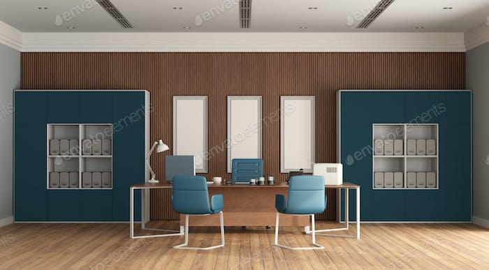 Minimalist blue and wooden office