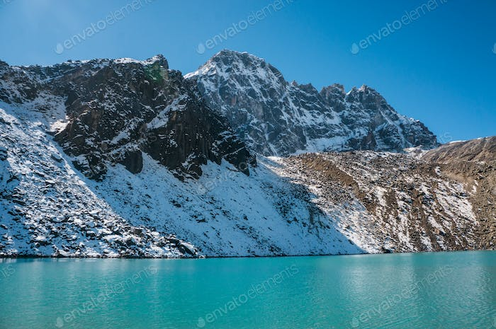 Scenic Landscape With Snowy Mountains and Lake, Nepal, Sagarmatha Zone