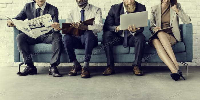 Geschäftsleute Sitzsofa Couch Unity Konzept