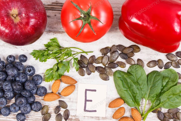 Products and ingredients containing vitamin E and dietary fiber, healthy nutrition concept