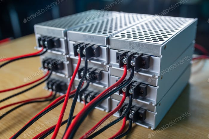 Close-up metal cases for storing power supply