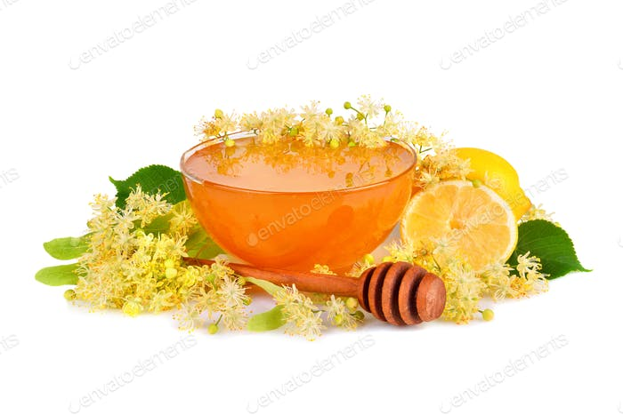 Fresh honey with linden flowers