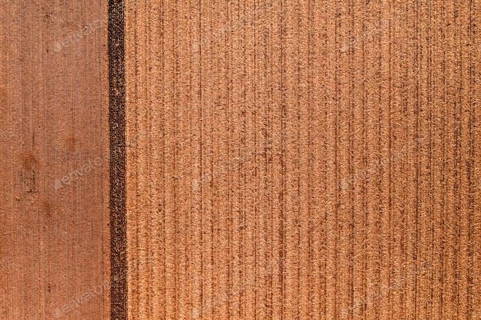 Luftaufnahme von Feldstoppeln von Drohne pov