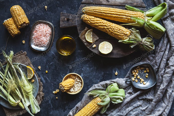 Grilled corn cobs with sauce, coriande. Mexican food, vegetables Wholesome healthy food