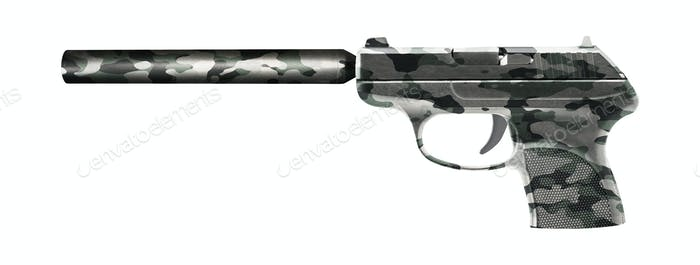 Pistol with a silencer isolated on white