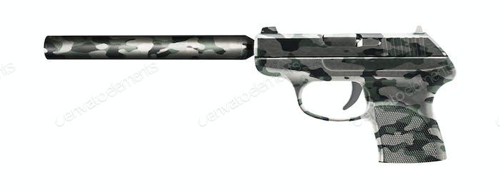 Pistole mit einem Schalldämpfer isoliert auf weiß