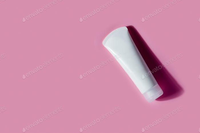 Empty mockup white plastic bottle with shadows