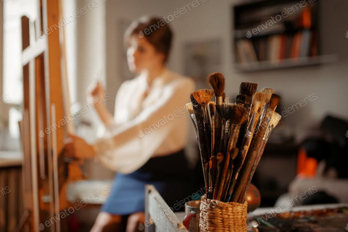 Brushes collection, female artist on background