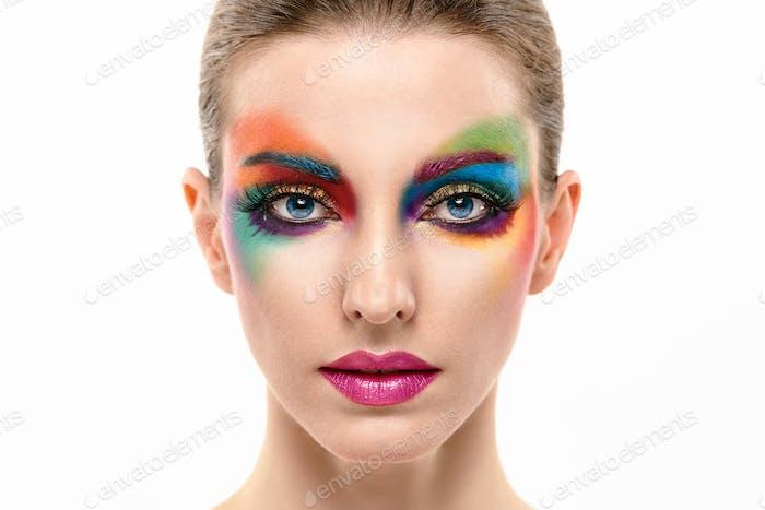 Beauty Fashion woman, Colorful Bright Art Makeup