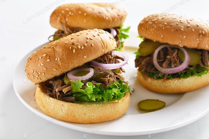 Pulled beef hamburger with vegetables