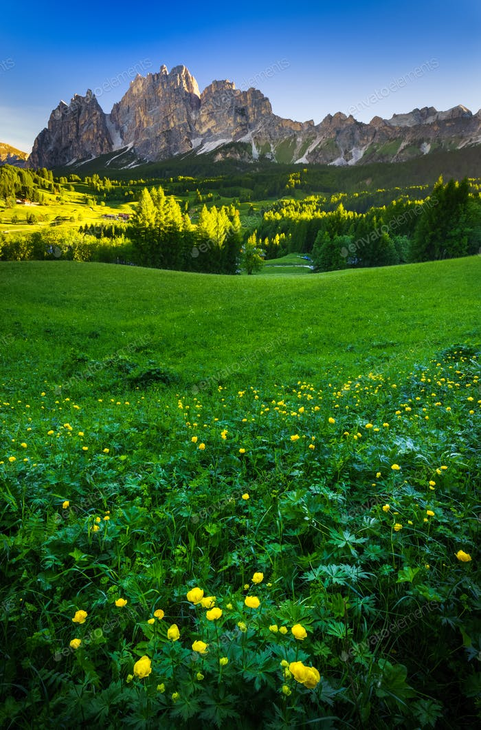 Mountain peak at sunrise, Dolomites Alps, Italy