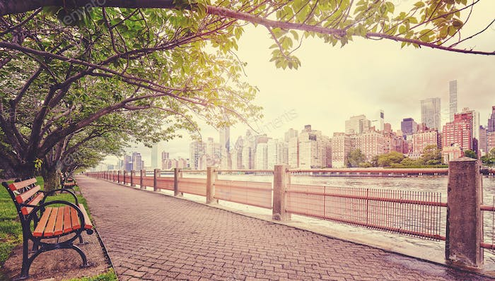 Color toned picture of walking path in Roosevelt Island, NYC.