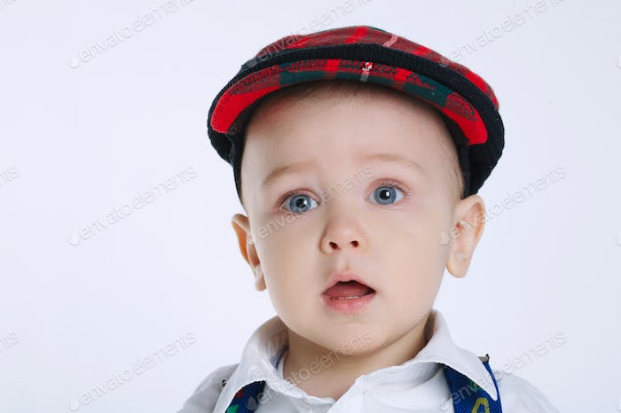 cute little boy on white