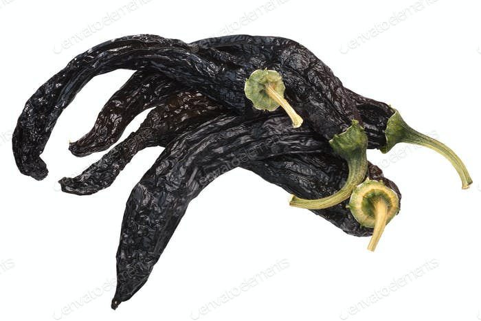 Pasilla chilaca dried peppers, top, paths