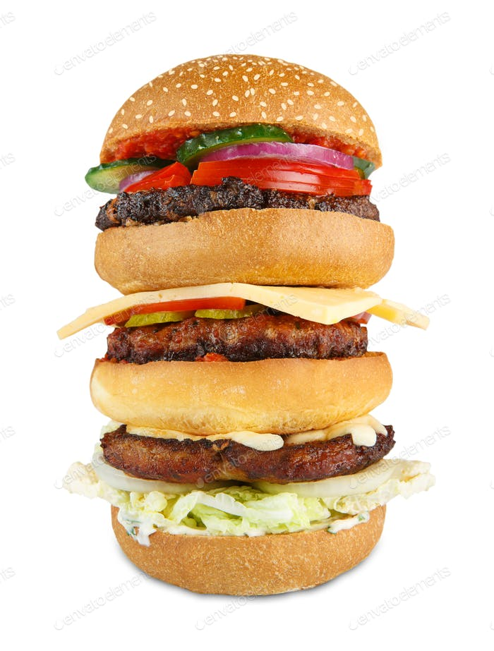 Tasty big hamburger isolated at white background