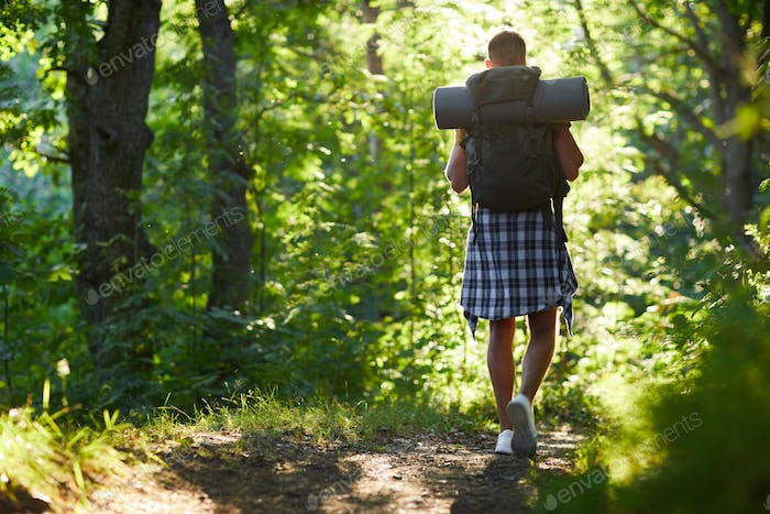 Backpacker in the forest