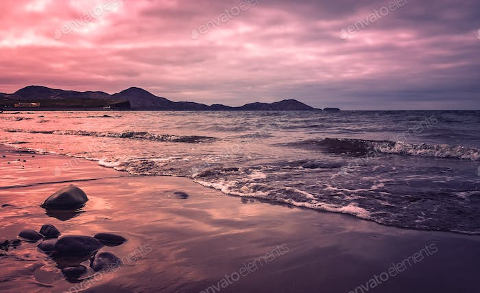 Sunset over Ballingskelligs Bay Beach