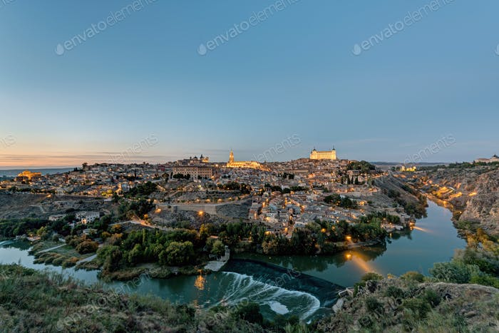 View of Toledo with the Tagus river after sunset