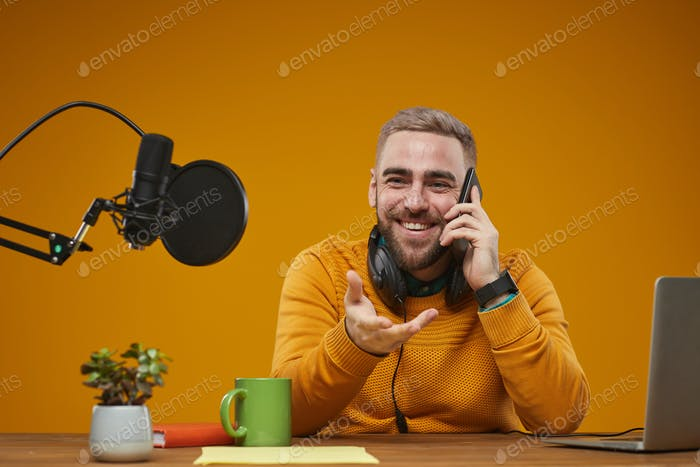 Radio Worker Talking On Phone