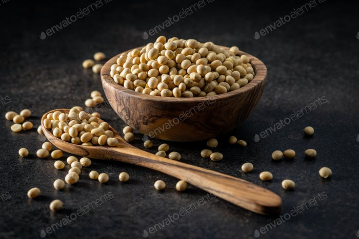 Dried soy beans.