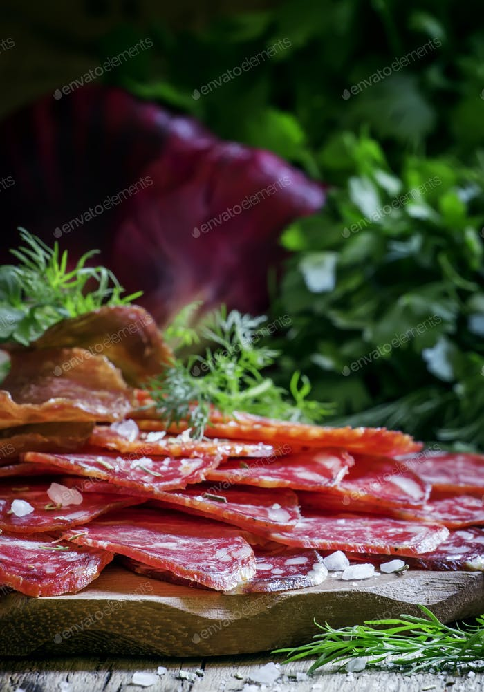 Sausage platter with herbs and spices