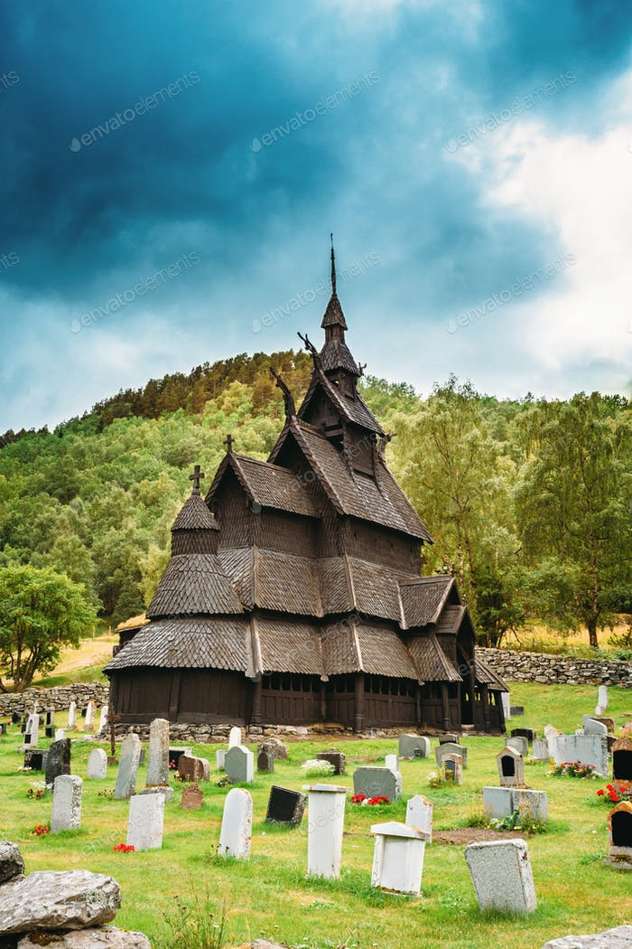 Borgund, Norway. Stavkirke An Old Wooden Triple Nave Stave Churc