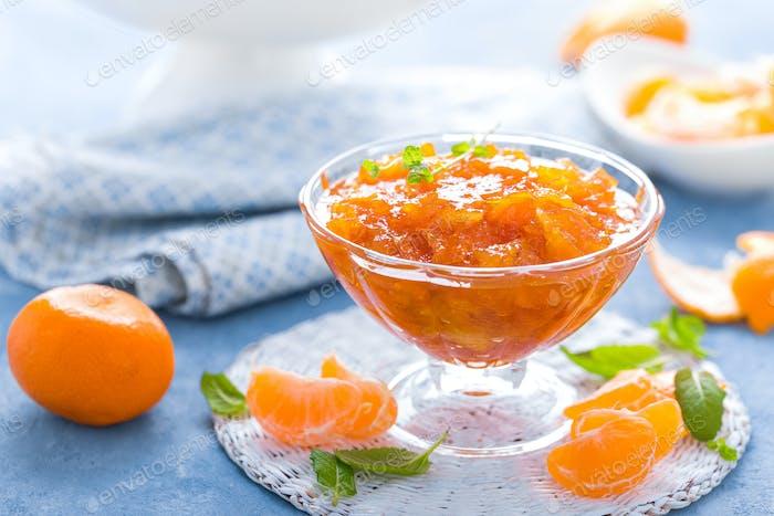 Tasty mandarin orange jam. Tangerine confiture, marmelade.