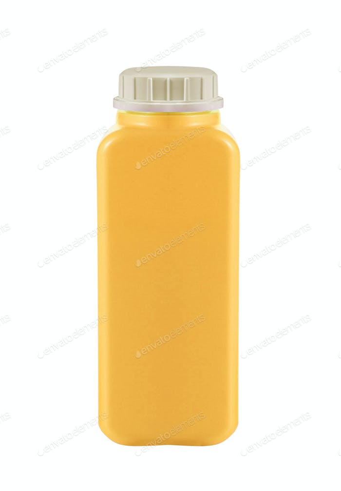 Canister with engine oil on white background