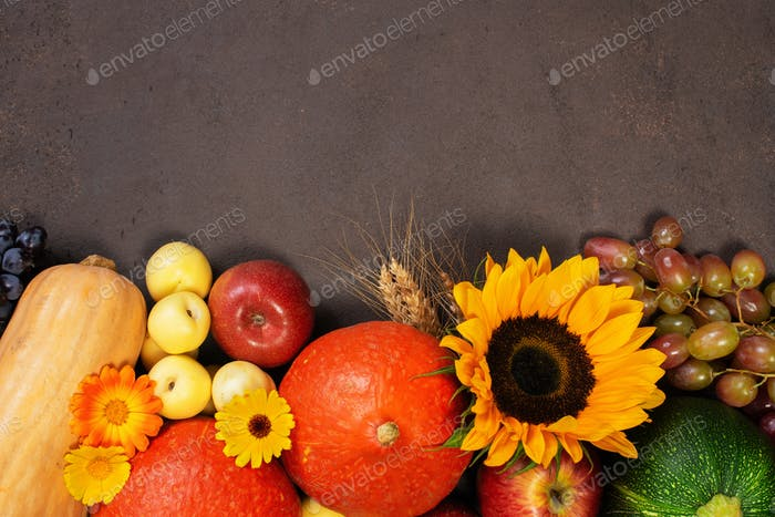 Hintergrund mit Herbst Obst und Gemüse