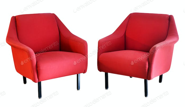 Two red armchairs on white