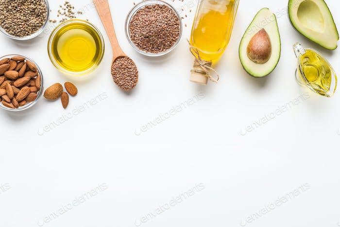Alternative oils concept, food background