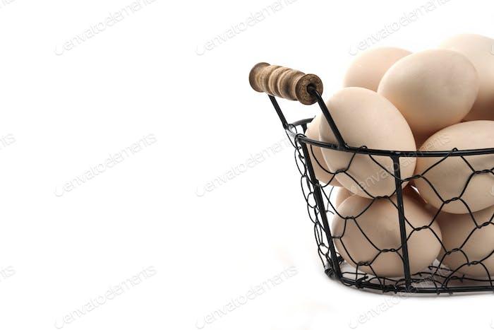 Organic white chicken eggs in basket on white background