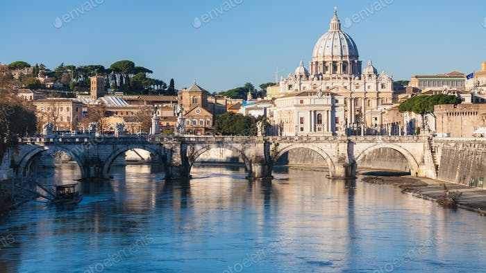 Rome cityscape with St Peter Basilica and Tiber