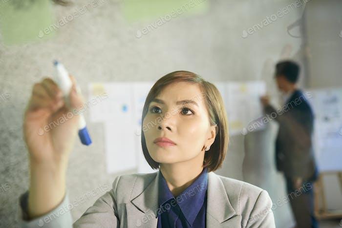 Geschäftsfrau auf Glaswand schreiben