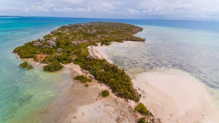 aerial view of the vundwe island in Zanzibar