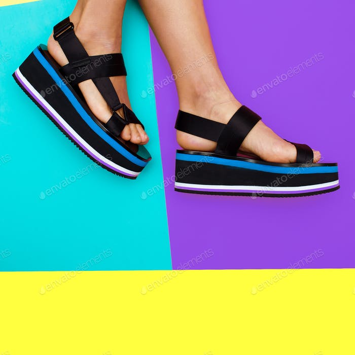 Platform summer trend. Stylish shoes for girls
