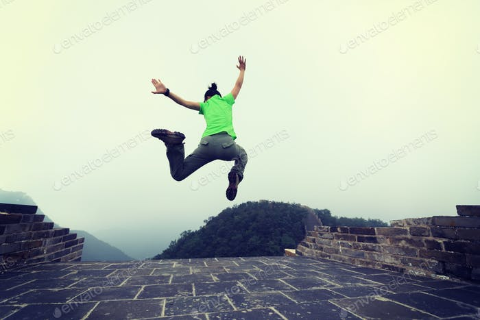 Freedom hipster jumping