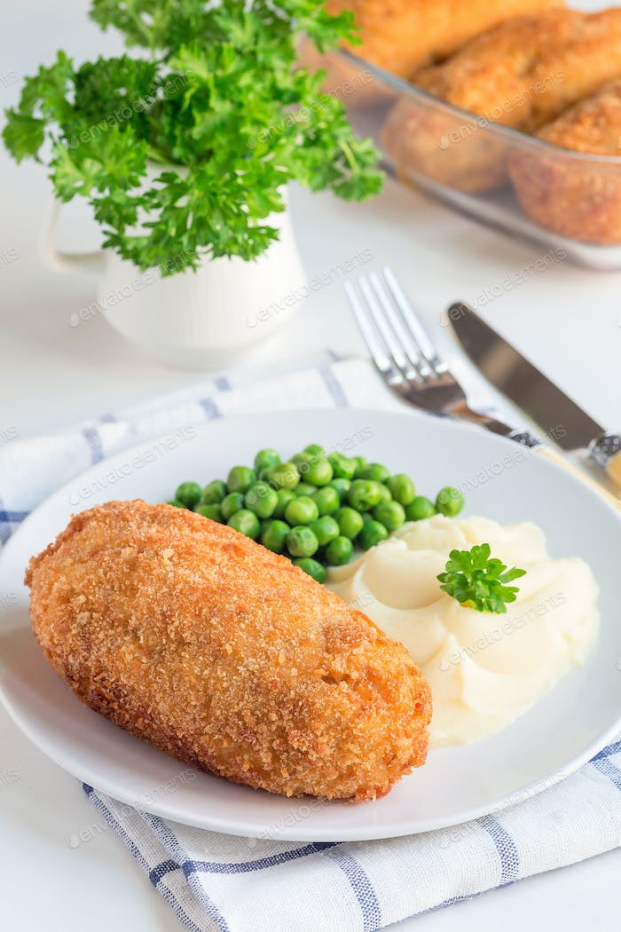 Chicken Kiev, ukrainian cuisine. Chicken cutlets in breadcrumbs