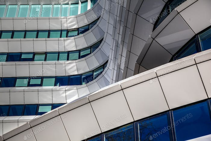 Artistic design details in the facade of modern architecture