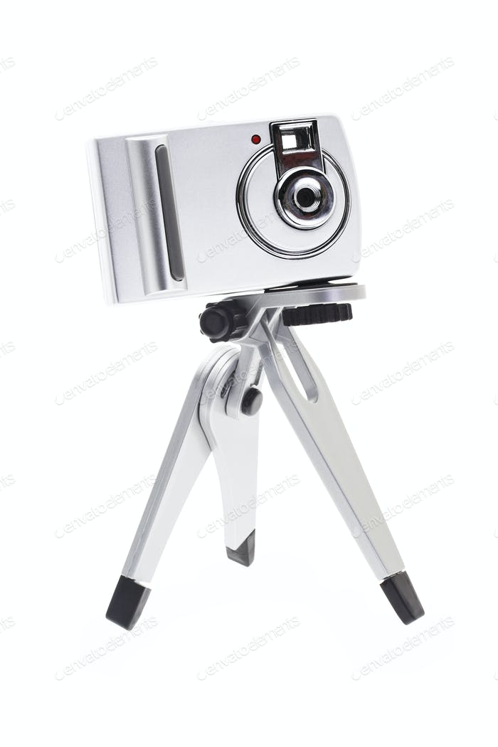 Digital camera for kids on tripod
